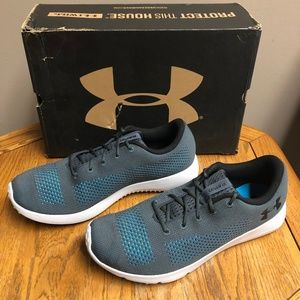 Under Armour Men's Rapid Sneaker- Grey/Blue- NIB!!